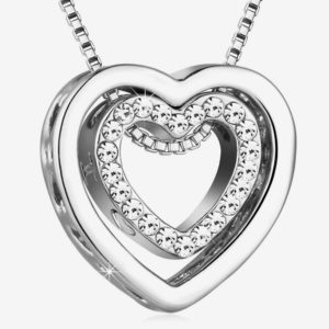 Heart Necklaces for Women,Silver I Love You Necklace for Girls