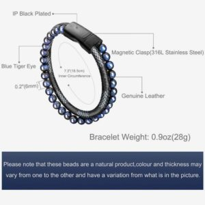 Bead Leather Bracelet, blue and black, Steel and Leather Bracelet for Men