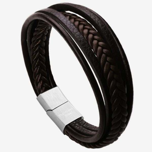 Mens Braided Leather Bracelet ,black Cowhide leather bracelet with white Magnetic Clasp