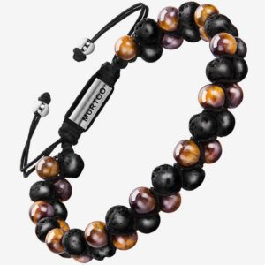 Mens Beads Tiger Eye and Lava Rock Stone Bracelet Perfume Diffuser