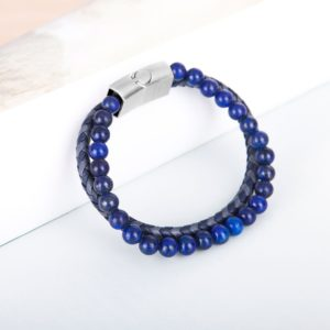 Mens Braided leather Bracelet,Blue bead and leather for men