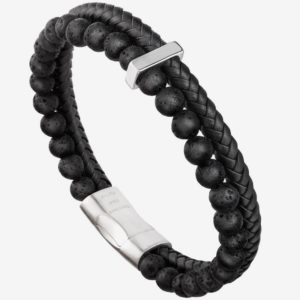 Bead Leather Bracelet, Natural black Bead, Steel and Leather Bracelet for Men