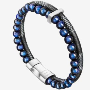 Bead Leather Bracelet, Natural blue Bead, Steel and Leather Bracelet for Men