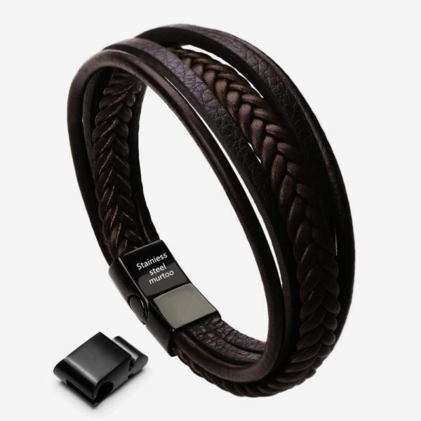 Braided Leather Bracelet ,brown Cowhide leather bracelet with black Magnetic Clasp