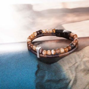 Bead Leather Bracelet, Natural brown Bead, Steel and Leather Bracelet for Men