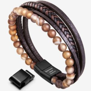 Mens Bracelet , Brown Bead and Leather Braided, cuff bracelet for men