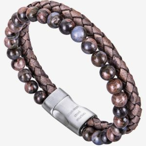Bead Leather Bracelet, Natural Bead, Steel and Leather Bracelet for Men