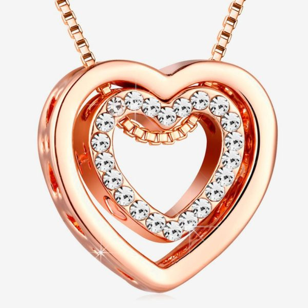 Heart Necklaces for Women,Rose Gold I Love You Necklace for Girls