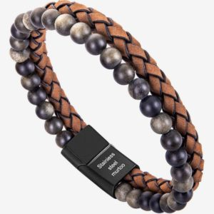 Bead Leather Bracelet, Natural Bead, Steel and brown Leather Bracelet for Men