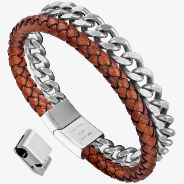 Mens Orange and Silver Bracelet leather and Steel