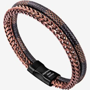 Brown Stripe Bracelet leather and Copper Steel Chain Bracelet