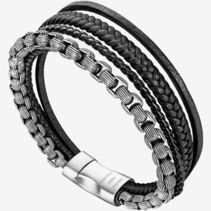 Black and Silver Retro Style Chain and Black Multilayer Braided Leather Bracelet