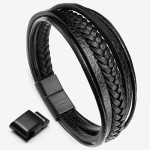 Braided Leather Bracelet, black Cowhide leather bracelet with black Magnetic Clasp