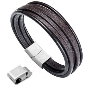 leather bracelet,multi-layer bracelet with magnetic Clasp,Brown cuff bracelet for men