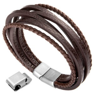 Mens Multi-Layer Leather Bracelet with Magnetic-Clasp, Cowhide Braided Bracelet