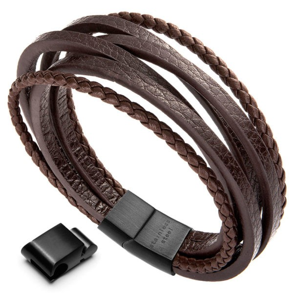 Multi-Layer Leather Bracelet , Cowhide Braided Bracelet,brown Wrap Bracelet for me with black Magnetic-Clasp