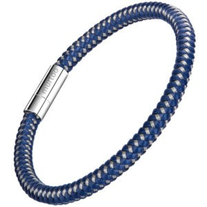 Blue Leather And Silver Steel Braided Bracelet for Men with Magnetic Clasp