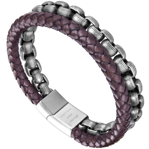 Brown Braided Crafed leather and Steel Chain for Men with Magnetic Clasp