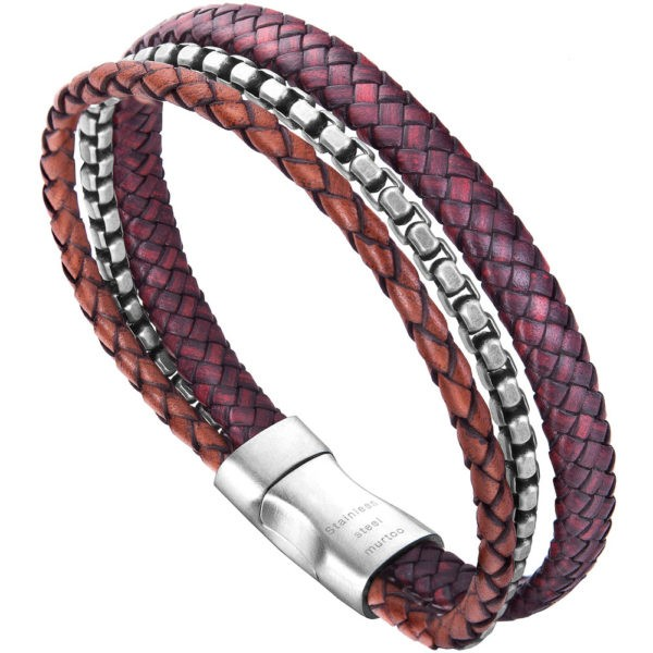Red,Brown and Silver Crafed Braided leather Silver Steel Chain Bracelet For Men