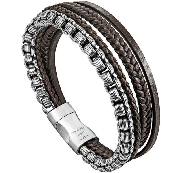 Brown and Silver Retro Style Chain and Black Multilayer Braided Leather Bracelet