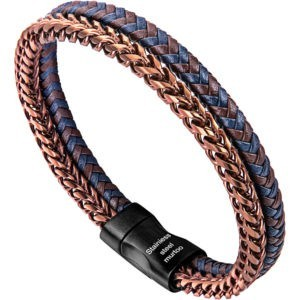 Braided Leather and Copper Steel Chain Bracelet for Men
