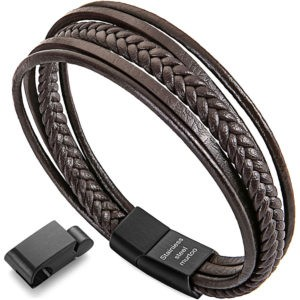Men's leather bracelets, multilayer, with magnetic clasp