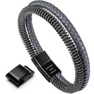 Grey Braided Leather and Retro Style Steel Chain Bracelet for Men