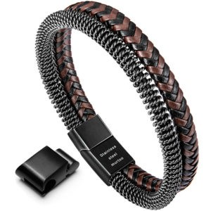 Brown and Black Braided Leather and Retro Style Steel Chain Bracelet for Men