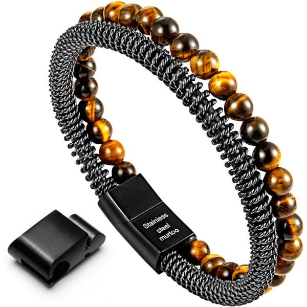 Tiger Eye Bead and Steel Chain Bracelet for Men