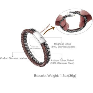 Brown Crafted Leather and Retro Style Steel Chain Bracelet for Men