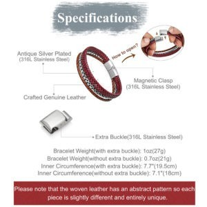 Adjustable Retro Style Chain and Crafted Red Leather Bracelet for Men