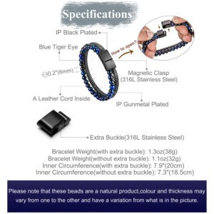Blue-Black Bead and Steel Chain Bracelet for Men