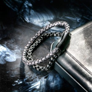Bracelet Leather and Steel, Stainless Steel Chain and Leather Bracelets
