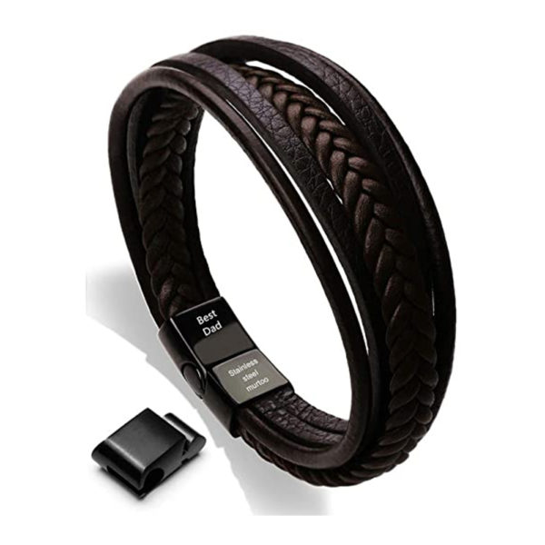 Leather Bracelet with Magnetic Clasp Cowhide Multi-Layer Braided Leather